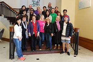 A group photo of all of the carers and staff who attended the retreat