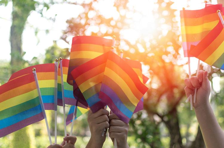 People holding the rainbow flag